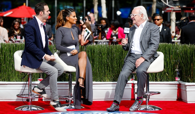 Pia Toscano and Jim Cantiello interview Sir Anthony Hopkins at the American Idol Finale Pre-Show