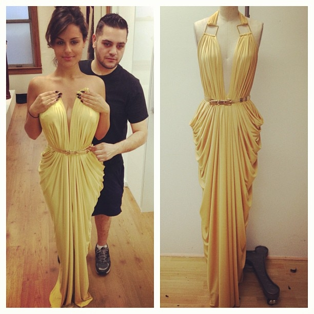 Pia Toscano being fitted for her gorgeous Michael Costello dress for the Divas In The Desert Gala