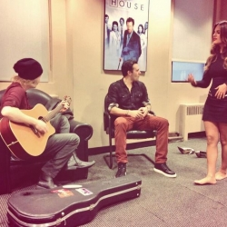 Pia Toscano, Jared Lee, and Jeremy Bieber Prepping For Their Performance on Good Day NY 11/18