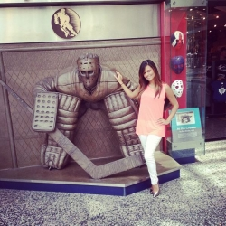 Pia Toscano Outside The Hockey Hall of Fame Store