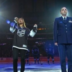 Pia Toscano sings the National Anthem LA Kings vs Chicago Blackhawks - Western Conference Finals Game 3 - 6/4/13 (1)