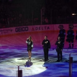 LAPD Heroes Of The Game at LA Kings' Center Ice With Pia Toscano