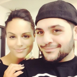 Pia Toscano with Michael Costello at his Showroom