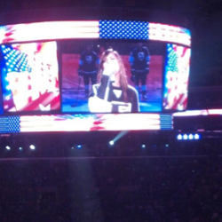 Pia Toscano sings the National Anthem for the LA Kings vs the San Jose Sharks Game 5 (2)