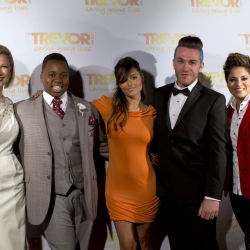 Pia Toscano with Desi Lydic, Alex Newell, Luke Edgemon & Karina Iglesias at Trevor NextGen's Prom 2013
