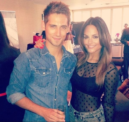 Pia Toscano with Jean-Luc Bilodeau at the KIISFM 102.7 Teen Choice Awards Gifting Suite #3